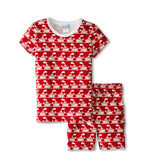 BedHead Kids - Tweens Short Sleeve Two-Piece Shorts Set (Big Kids) (Red Steamboat) Boy