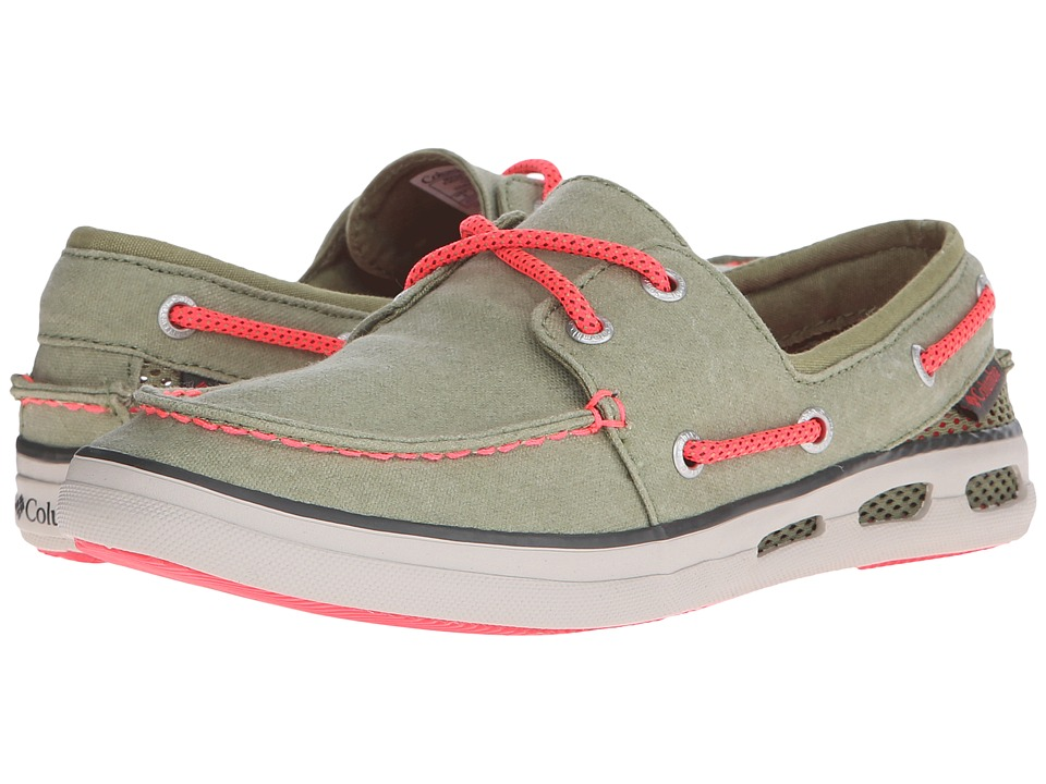 Columbia - Vulc N Vent Boat Canvas (Cool Moss/Laser Red) Women's Shoes