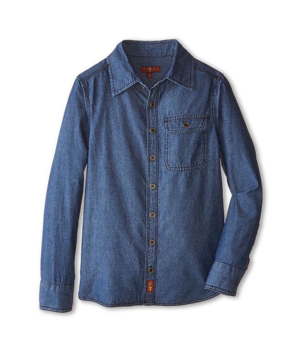 Image of 7 For All Mankind Kids - Chambray Denim Shirt (Big Kids) (Chambray Blue) Boy's Clothing