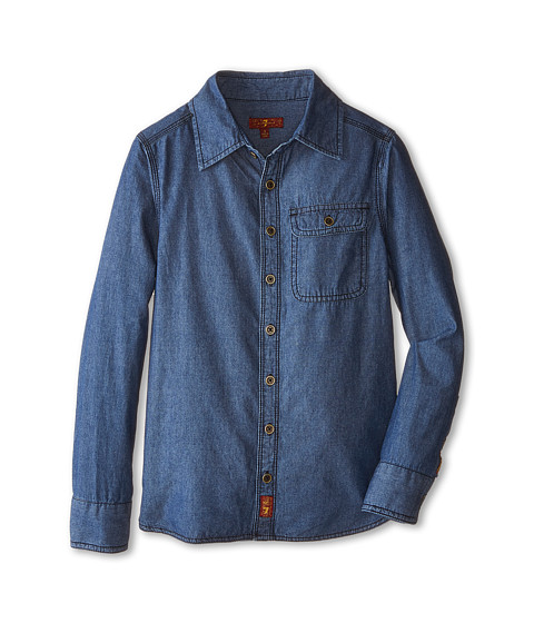 7 For All Mankind Kids - Chambray Denim Shirt (Big Kids) (Chambray Blue) Boy's Clothing