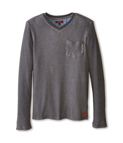 7 For All Mankind Kids - Long Sleeve Slub Jersey Tee (Big Kids) (Dark Heather Grey) Boy's T Shirt