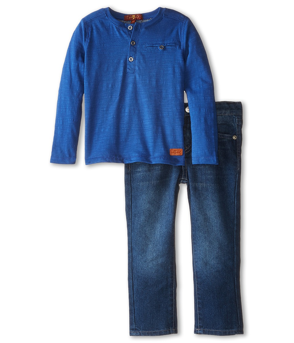 7 For All Mankind Kids - Pocket Tee and Denim Set (Toddler) (Blue) Boy's Active Sets