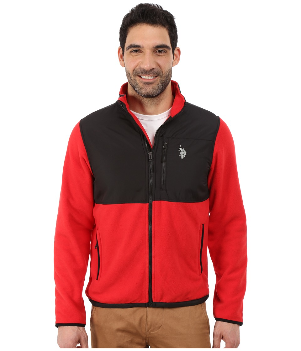 U.S. POLO ASSN. - Polar Fleece Mock Neck Jacket (Engine Red) Men's Coat