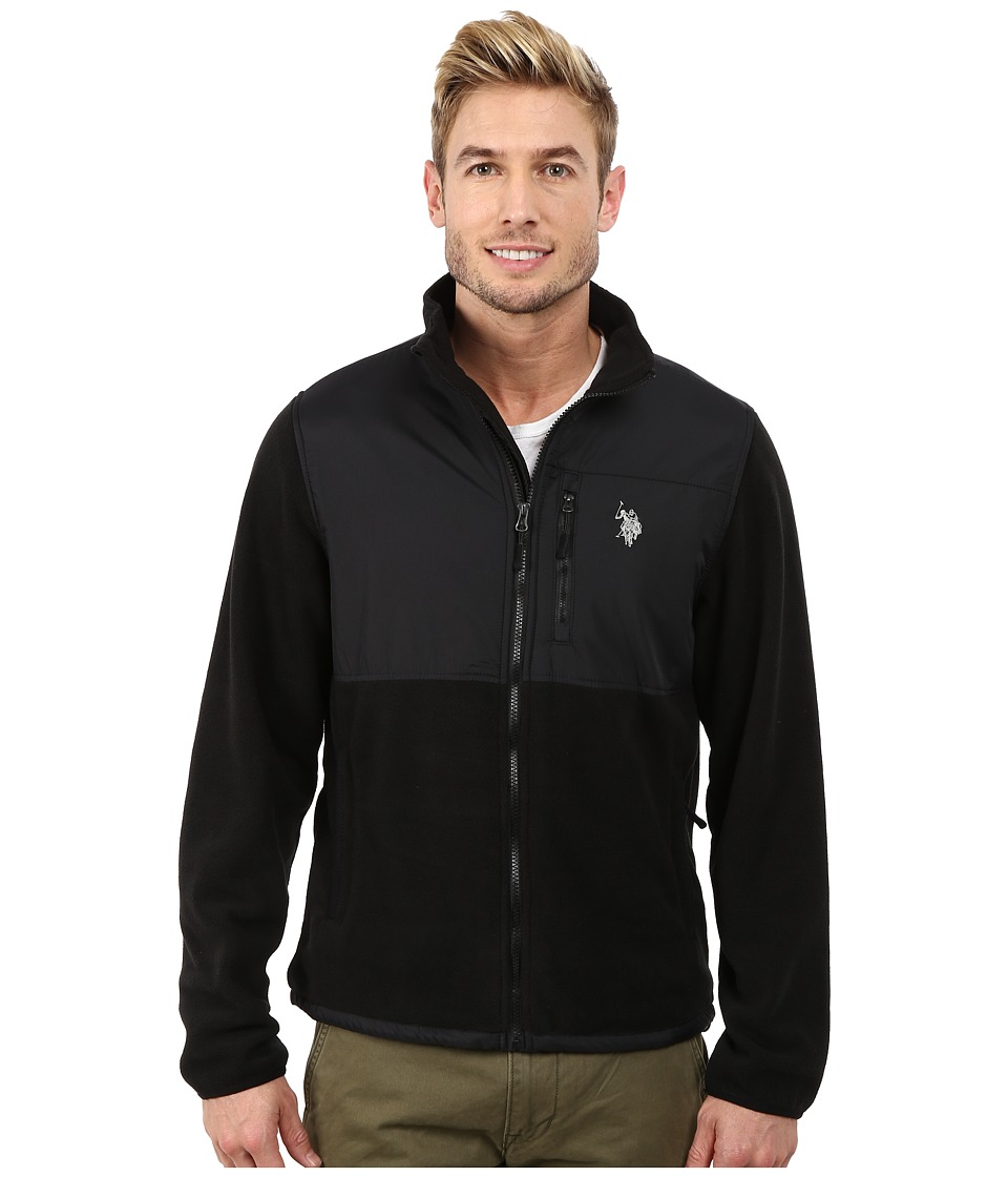 U.S. POLO ASSN. - Polar Fleece Mock Neck Jacket (Black) Men's Coat