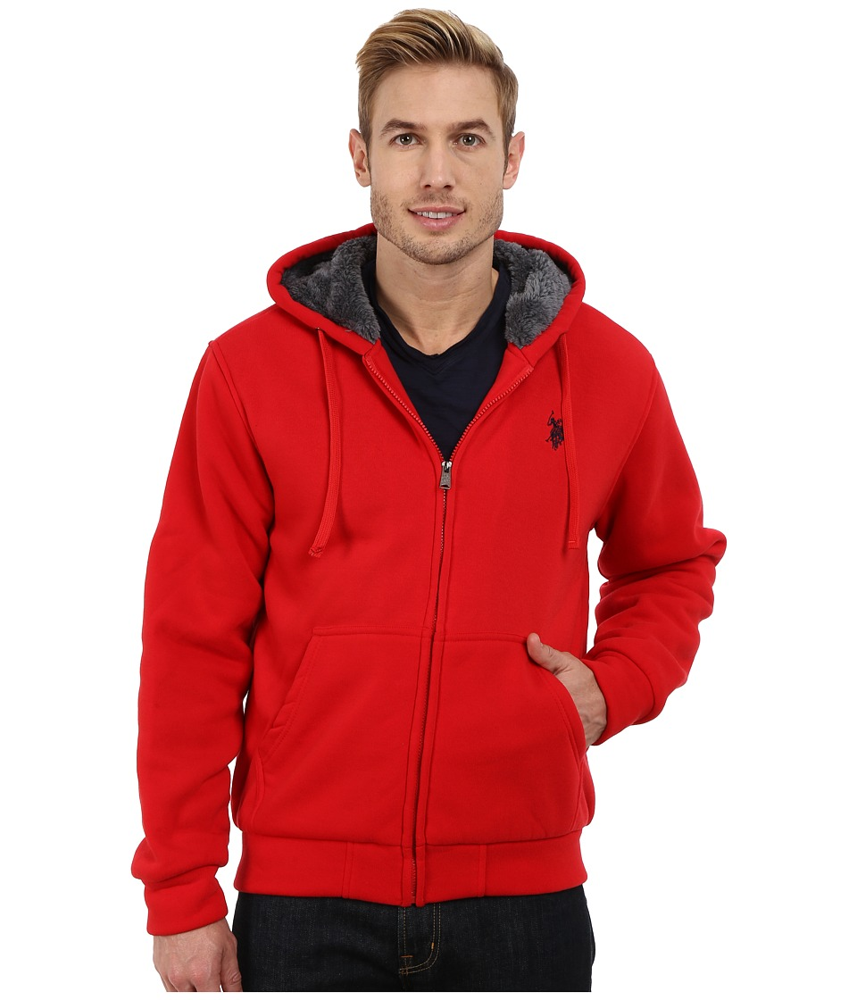 U.S. POLO ASSN. - Fleece Hoodie with Sherpa Lining (Engine Red) Men's Coat