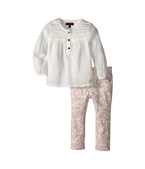 7 For All Mankind Kids - Long Sleeve Tee and Printed Denim Set (Toddler) (White) Girl's Active Sets