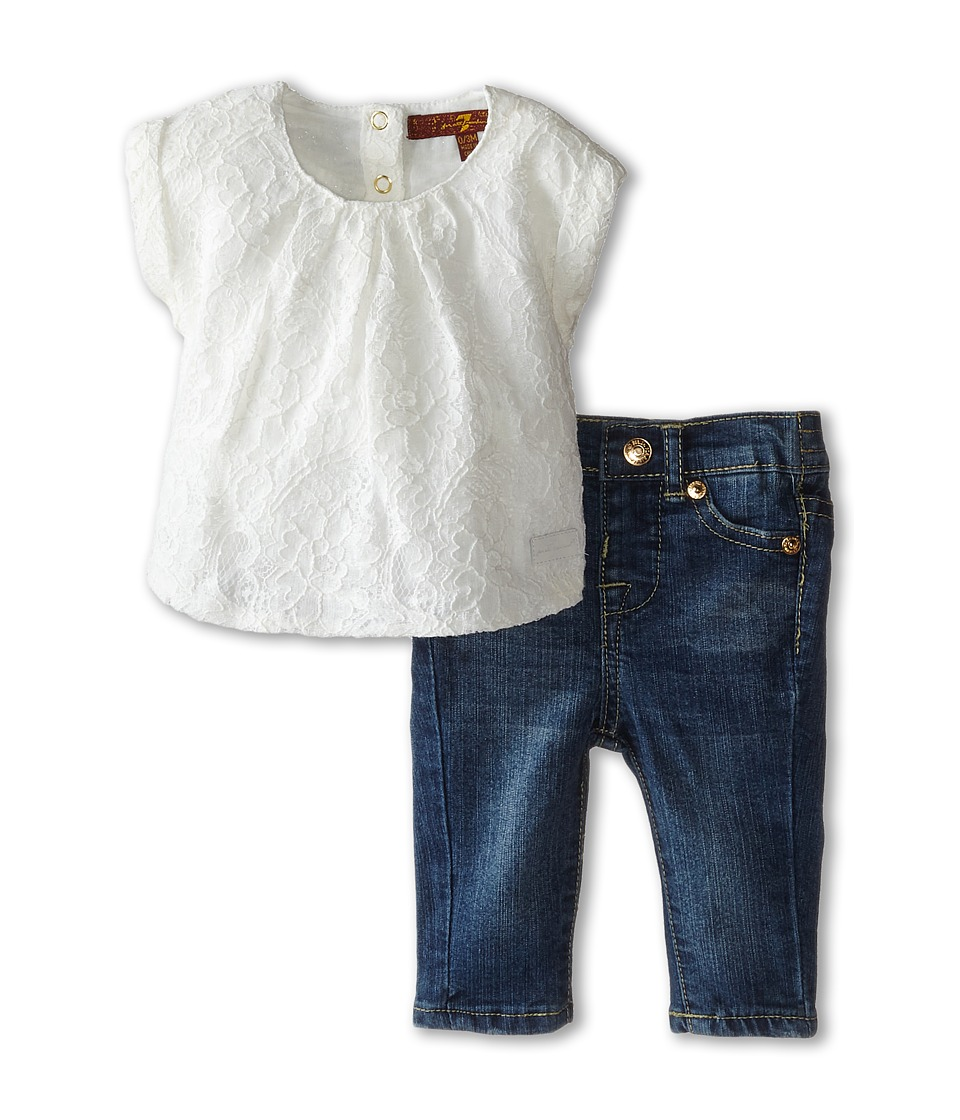 7 For All Mankind Kids - Lace Tee and Denim Set (Infant) (Cream) Girl's Active Sets