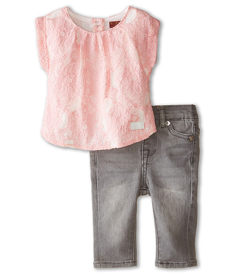 7 For All Mankind Kids - Lace Tee and Denim Set (Infant) (Pink) Girl's Active Sets