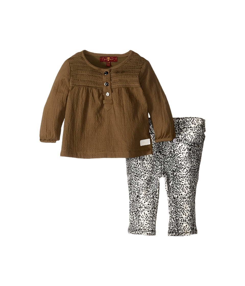 7 For All Mankind Kids - Long Sleeve Tee and Printed Denim Set (Infant) (Olive) Girl's Active Sets