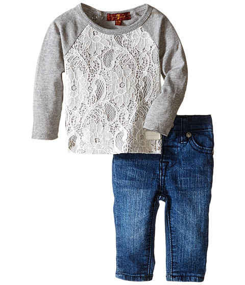 7 For All Mankind Kids - Lace Long Sleeve Tee and Denim Set (Infant) (Heather Grey) Girl's Active Sets