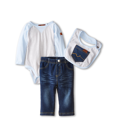 7 For All Mankind Kids - Three-Piece Bib Set (Infant) (Light Blue) Boy