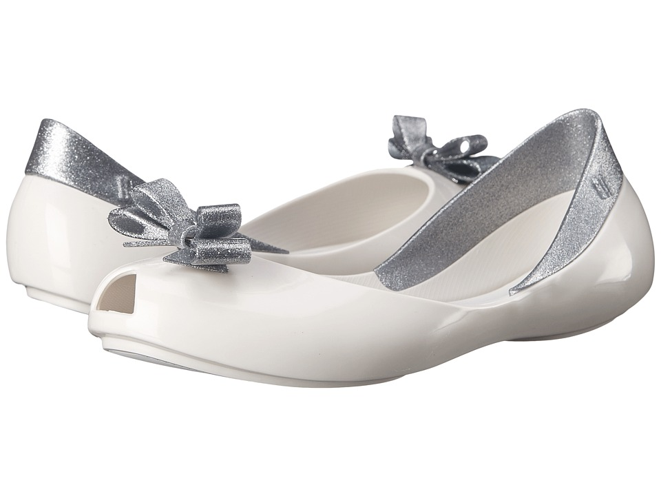 Mini Melissa - Mel Queen (Little Kid/Big Kid) (White/Silver) Girl's Shoes