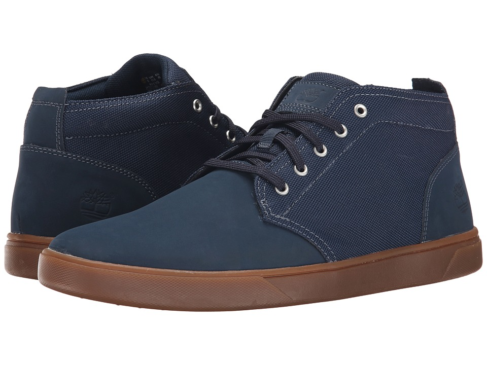 Timberland - Groveton Leather and Fabric Chukka (Navy Leather/Canvas) Men's Shoes