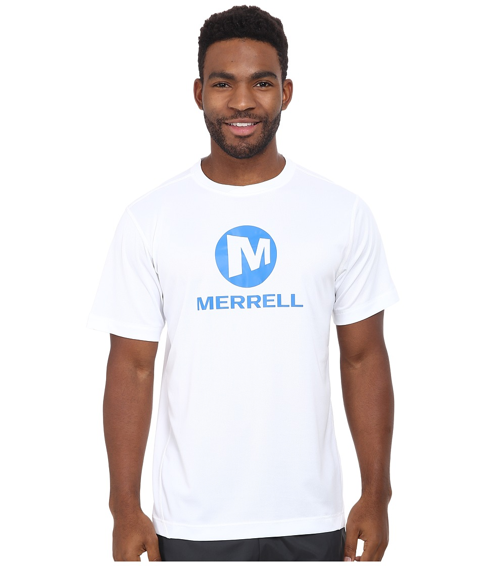 Merrell - Stacked Logo Tech Tee (White) Men's T Shirt