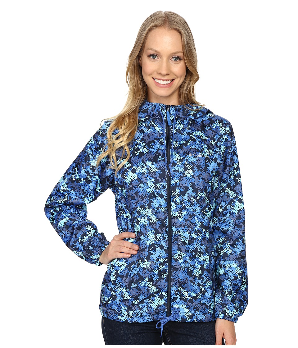 Columbia - Flash Forward Printed Windbreaker (Stormy Blue Print) Women's Coat