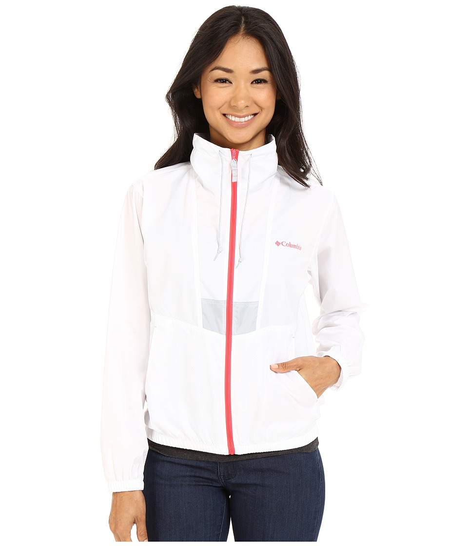 Columbia - Flashback Windbreaker (White/Cirrus Grey/Laser Red) Women's Coat
