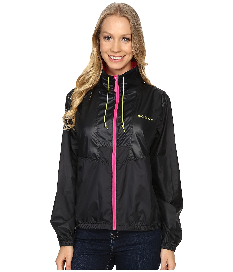 Columbia - Flashback Windbreaker (Black/Pink Glo/Chartreuse) Women's Coat