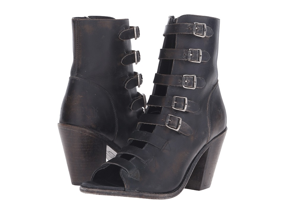 Frye - Izzy Belted Short (Black Stone Wash) Women's Dress Boots