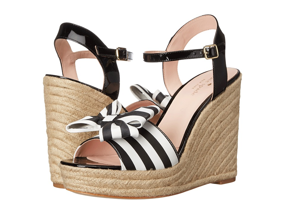 Kate Spade New York - Darya (Black/White Stripe Nappa/Black Patent) Women's Wedge Shoes