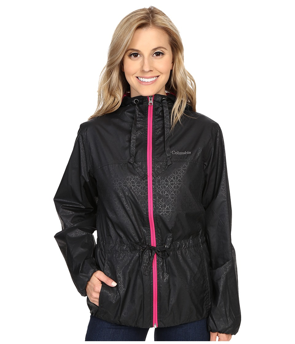 Columbia - Auroras Wake II Rain Jacket (Black Flower Emboss/Haute Pink) Women's Coat