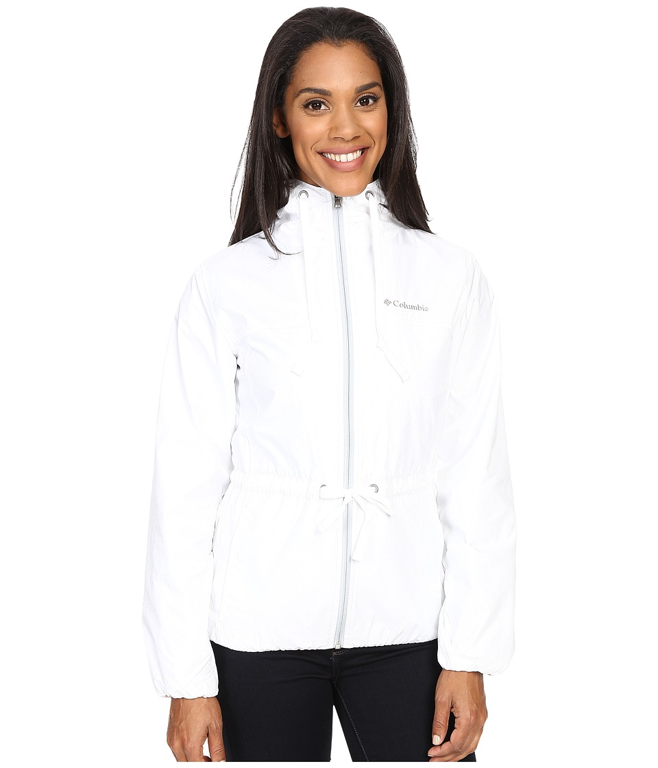 Columbia - Auroras Wake II Rain Jacket (White Flower Emboss/Cirrus Grey) Women's Coat