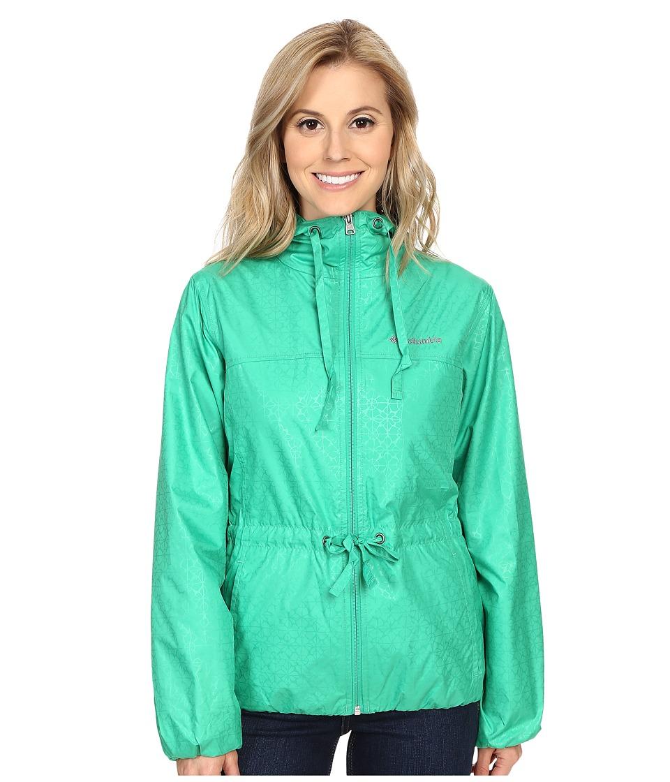 Columbia - Auroras Wake II Rain Jacket (Dark Lime Flower Emboss) Women's Coat