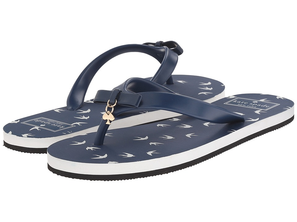 Kate Spade New York - Fifi (Navy Rubber/Navy Winter Swallow Print) Women's Sandals