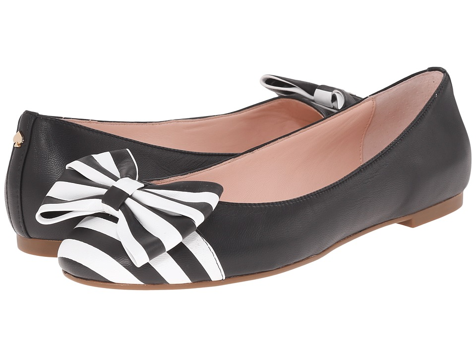 Kate Spade New York - Wallace (Black Nappa/Black/White Printed Stripe Leather) Women's Shoes