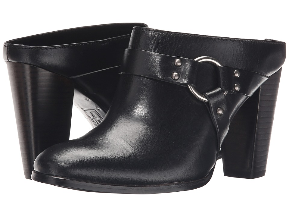 Frye - Laurie Harness Mule (Black Smooth Polished Veg) High Heels