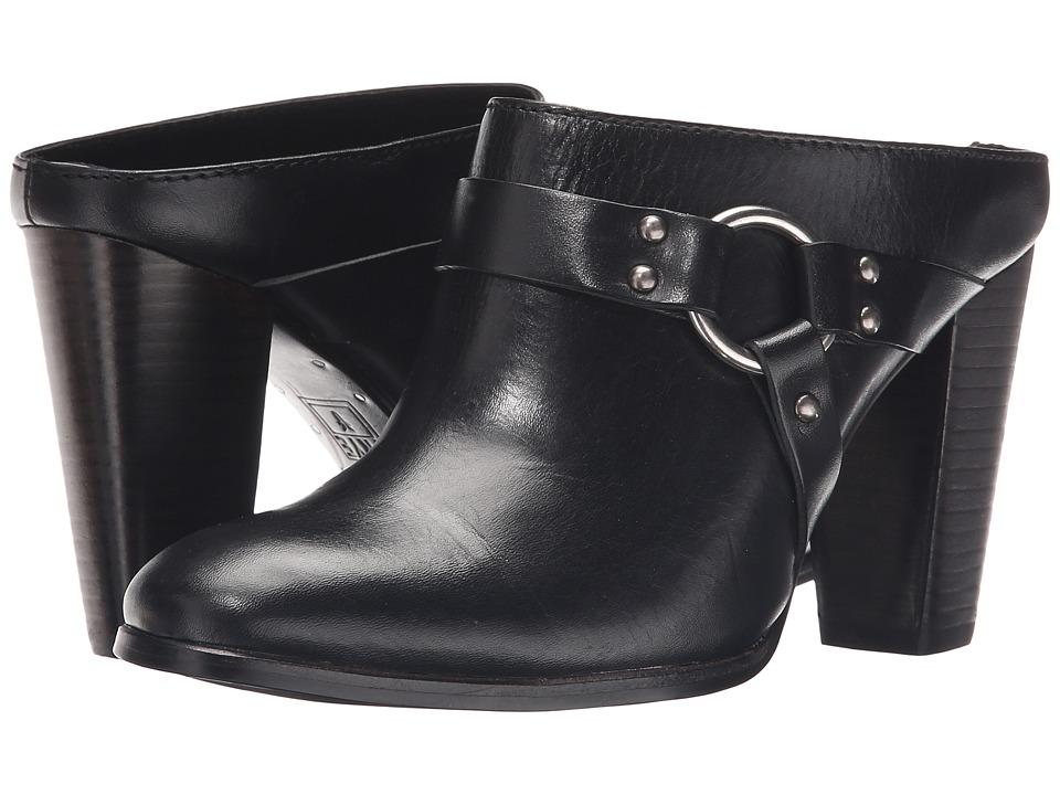 Frye Laurie Harness Mule Black Smooth Polished Veg High Heels