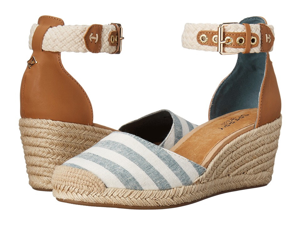 Sperry Top-Sider - Valencia Canvas (Blue/White Stripes) Women's Wedge Shoes