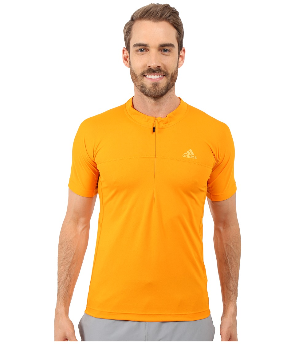 adidas Outdoor - 37.5 1/2 Zip Short Sleeve Tee (Orange) Men's Short Sleeve Pullover