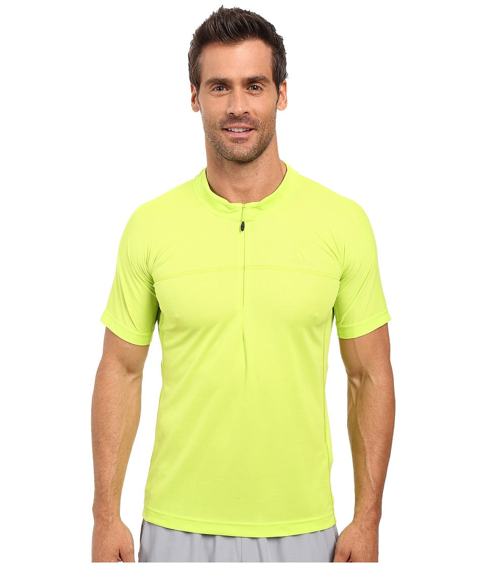 adidas Outdoor - 37.5 1/2 Zip Short Sleeve Tee (Semi Solar Slime) Men's Short Sleeve Pullover
