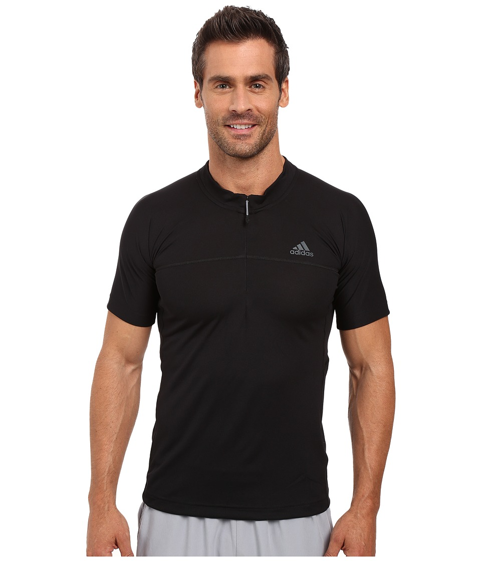 adidas Outdoor - 37.5 1/2 Zip Short Sleeve Tee (Black) Men's Short Sleeve Pullover