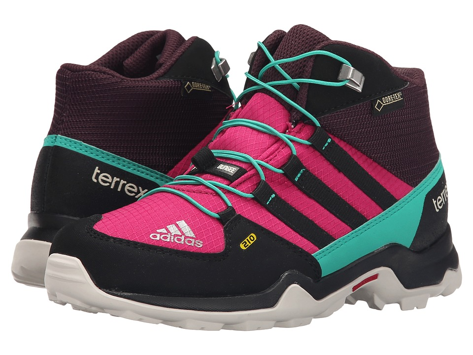 adidas Outdoor Kids - Terrex Mid GTX (Little Kid/Big Kid) (Mineral Red/Bold Pink/Black) Girls Shoes