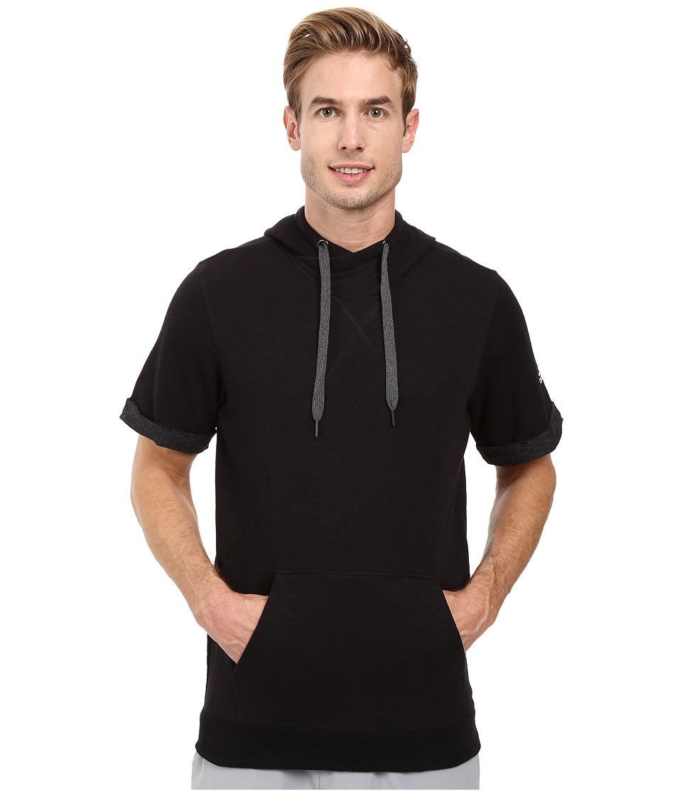 adidas - Wall Short Sleeve Hoodie (Black) Men's Sweatshirt