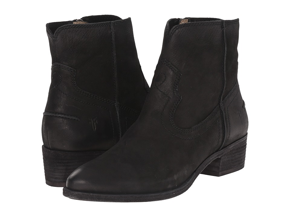 Frye - Ray Seam Short (Black Soft Oiled Leather) Cowboy Boots