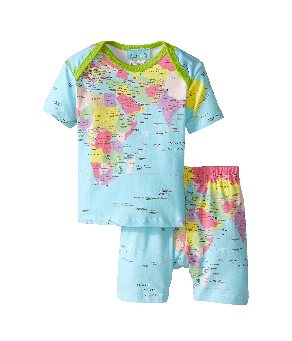 BedHead Kids - Short Sleeve Two-Piece Shorts Set (Infant) (Aqua Around The World) Kid's Pajama Sets