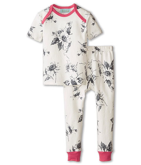 BedHead Kids - Short Sleeve Tee Pant Set (Infant) (Black/White Sunflowers) Girl's Pajama Sets