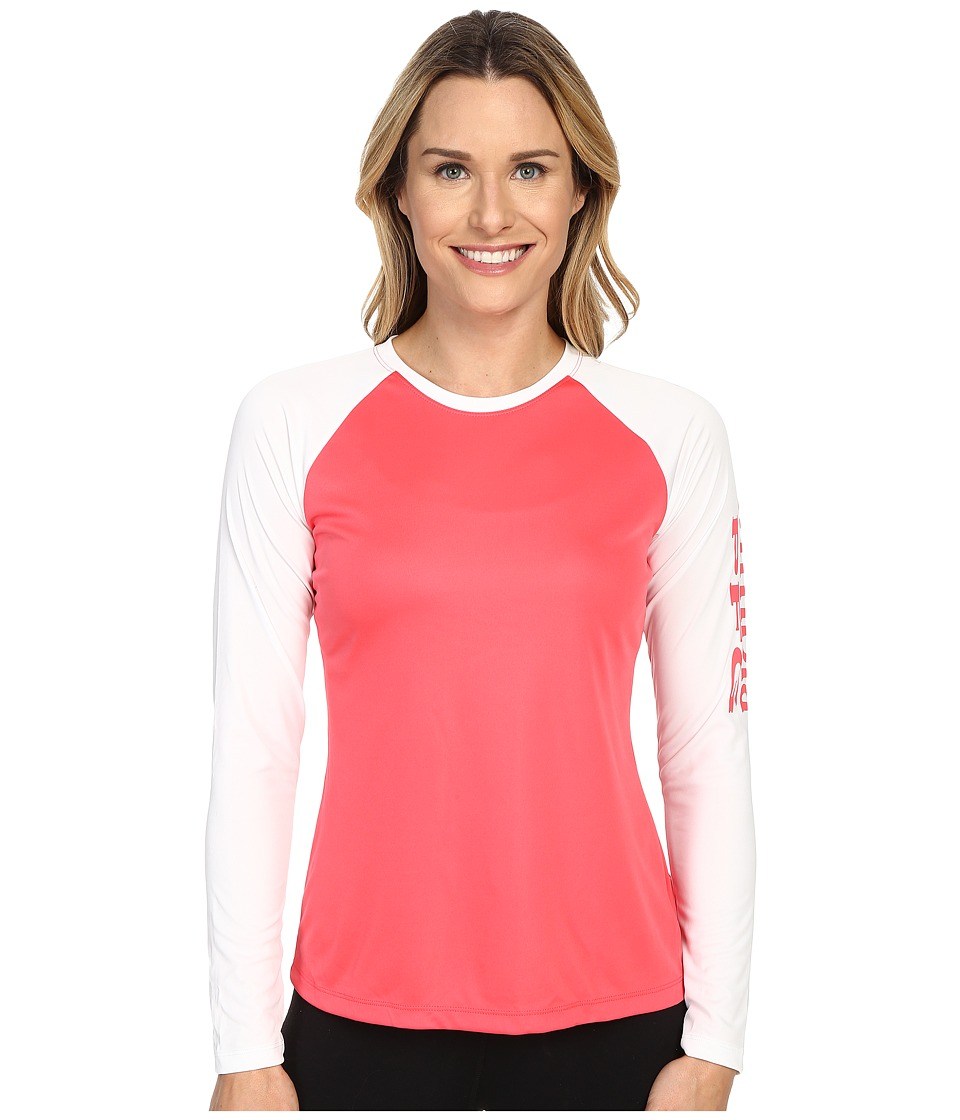Columbia - Tidal Tee II L/S (Bright Geranium/White) Women's Long Sleeve Pullover