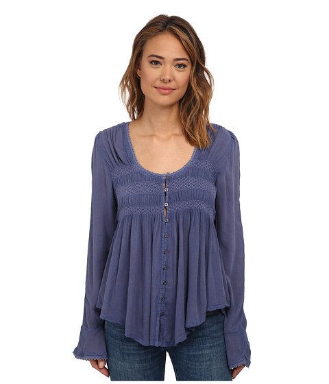 Free People - Blue Bird Smocked Top (Washed Indigo) Women's Clothing