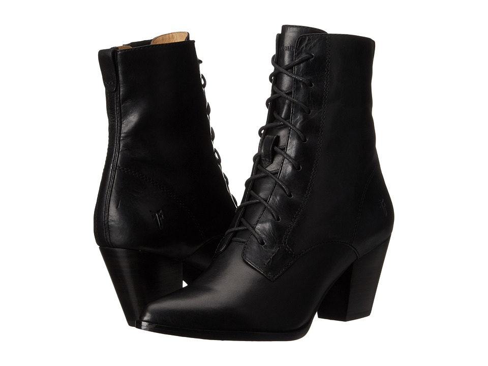 Frye - Renee Lace Up (Black Smooth Oiled Veg) Women's Dress Lace-up Boots