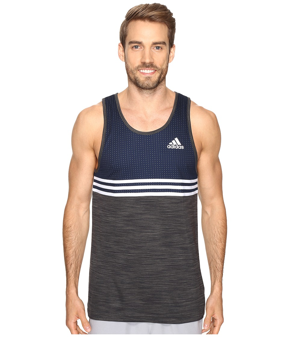 adidas Double Up Tank Top (Collegiate Navy/Dark Grey Heather/White) Men