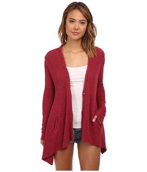 Free People - Shark Hem Cardi (Red Berry) Women