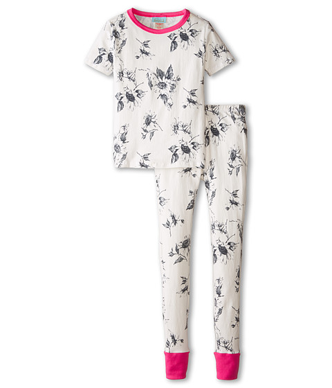 BedHead Kids - Short Sleeve Tween Snug PJ (Big Kids) (Black/White Sunflowers) Girl's Pajama Sets