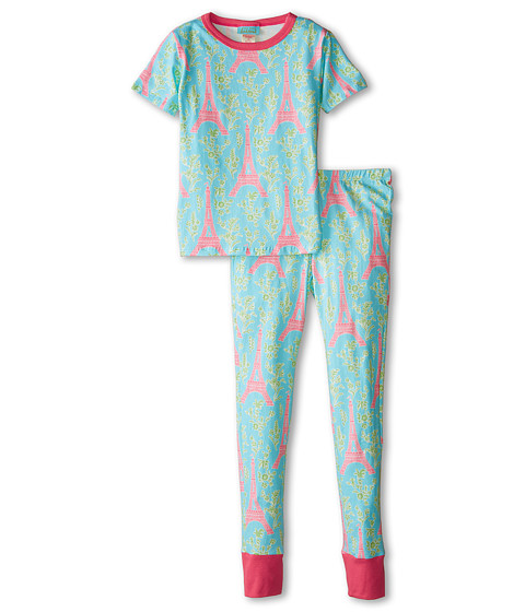 BedHead Kids - Short Sleeve Tween Snug PJ (Big Kids) (Light Blue Eiffel Tower) Girl