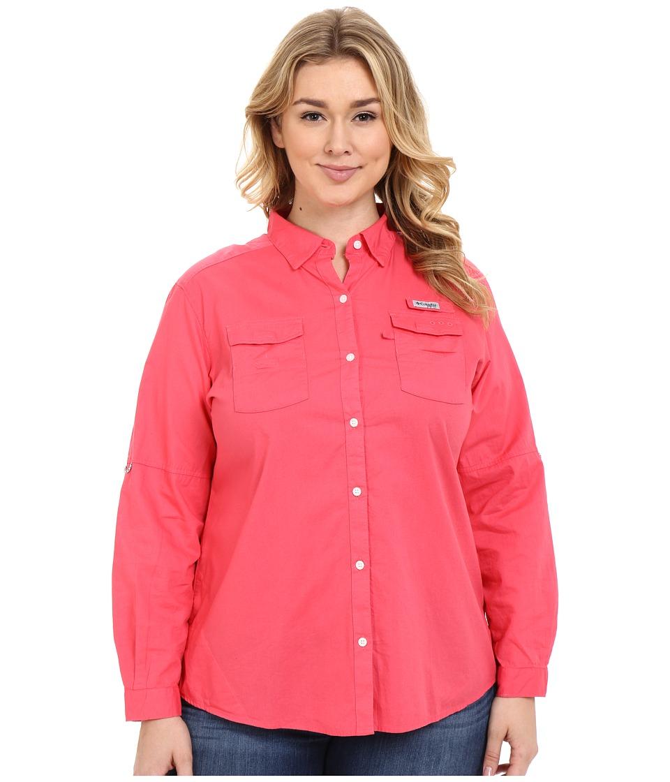 Columbia - Plus Size Bonehead II L/S Shirt (Bright Geranium) Women's Long Sleeve Button Up