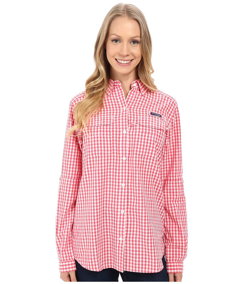 Columbia - Super Bonehead II L/S Shirt (Bright Geranium Gingham) Women's Long Sleeve Button Up