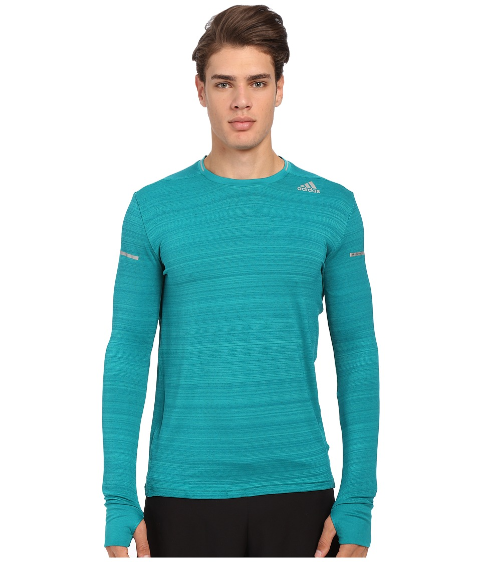 adidas - Sequencials Heathered Long Sleeve Tee (EQT Green/Matte Silver) Men's Workout