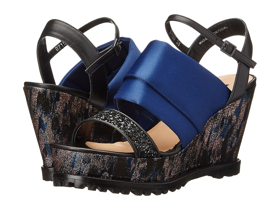 Markus Lupfer - ML146 (Blue Brocade) Women's Wedge Shoes